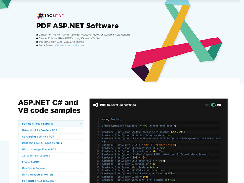 The ASP .NET PDF software library: IronPDF