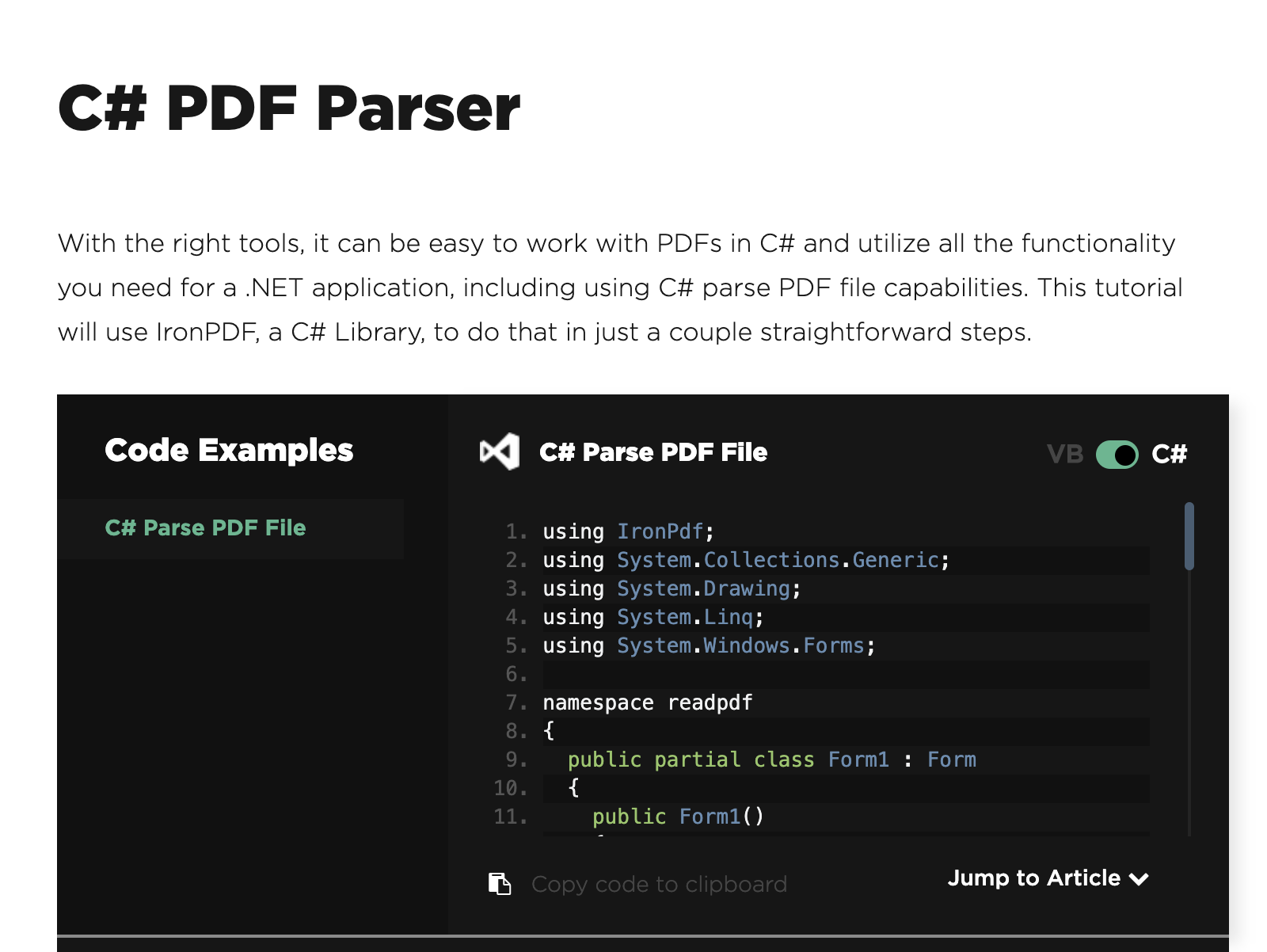 C# PDF Parser full screenshot