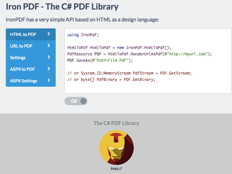 The C# PDF Library screen shot