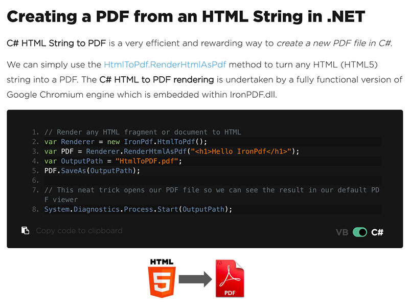 C# HTML to PDF full screenshot